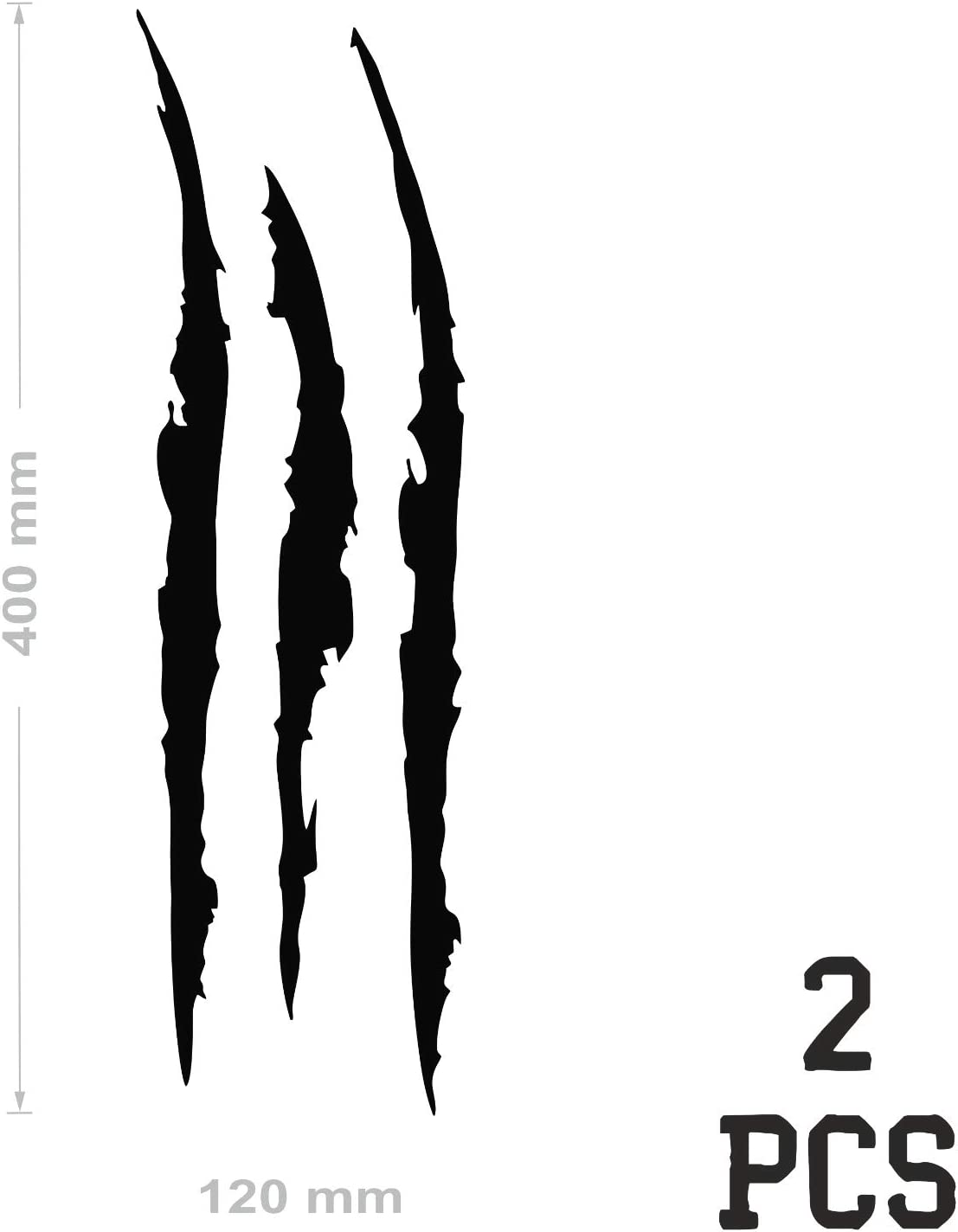 nero Adesivi a forma di Artigli di mostro per la tua Moto o Macchina da applicare esternamente 40 x 12 cm Stickers in vinile Tuning Sport 2 Adesivi per auto a Forma di Graffi