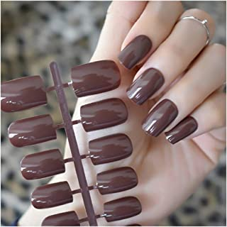 VIKSON INTERNATIONAL 24-Piece Coffee UV Effect Gel Finish Fake Nails Long Tips Patch Artificial Chip French Nail Art Exten...