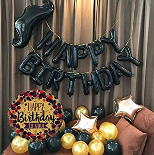 SOI Happy Birthday Letters Foil and HD Metallic Balloons with Foil Moustache Decoration Kit Set Decorations Items Combo (C...