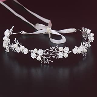 Princess White Flowers Floral Headband Crystal Rhinestone Tiara Hair Vine Jewelry with Ribbon Belt (White)