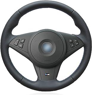 MEWANT DIY Hand Nähen atmungsaktiv schwarz Kunstleder Auto Auto Lenkradbezüge Wrap für E60 M5 2005 2008 E63 E64 Cabrio M6 2005 2010 (mit Ausbuchtungen + mit M Markierung am Lenkrad)