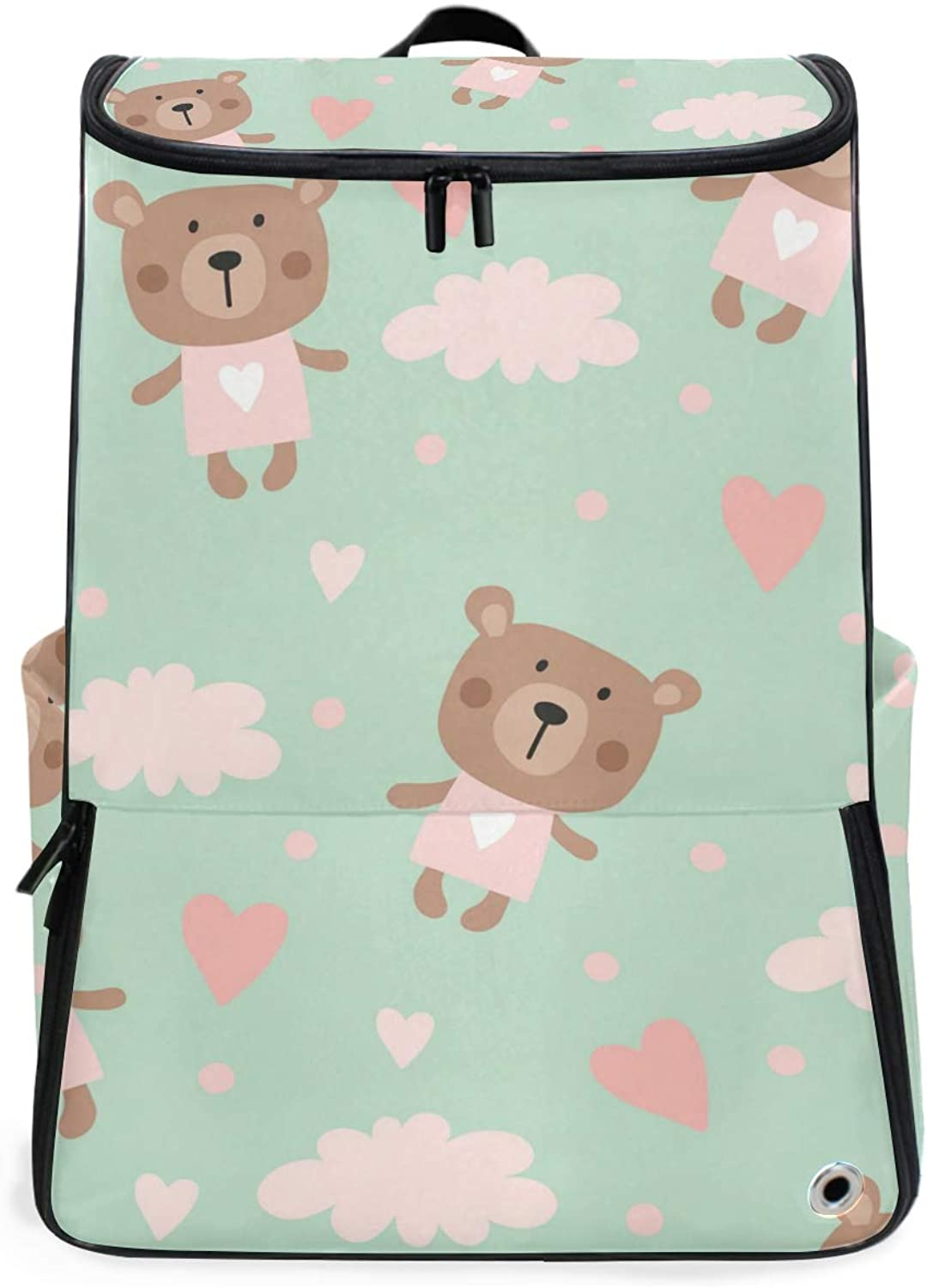 FANTAZIO Cartoon Bear and Cloud Professional Weekender CarryOn Backpack for Travel & Business