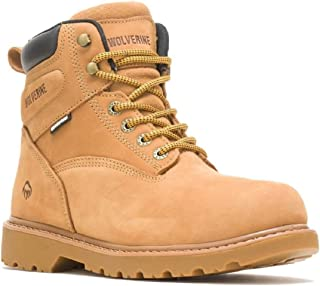 Mens WOLVERINE Floorhand 6 Inch Waterproof Leather Safety Steel Toe Cap Work Boots Shoes