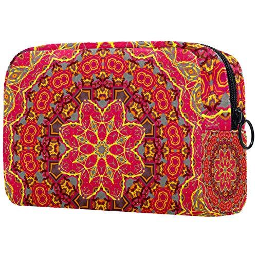 ATOMO Bolsa de maquillaje, bolsa de viaje cosmética grande bolsa de aseo organizador de maquillaje para mujeres, patrón psicodélico naranja mandala