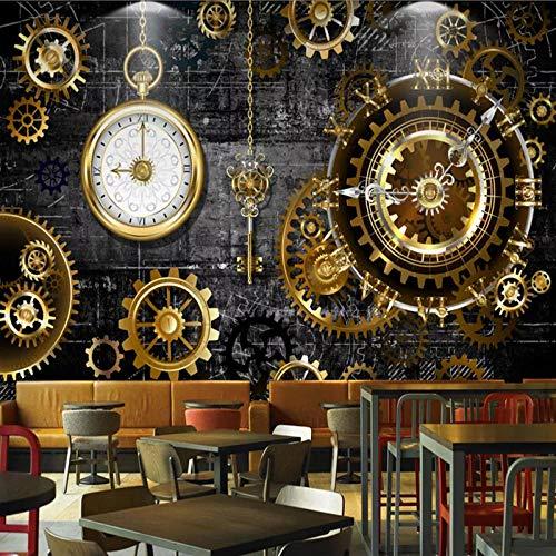 YIERLIFE Wandbild 3D Wandtattoo Aufkleber - Retro-Restaurant Cafe Bar Hintergrundwand des goldenen Zahnrads - Tapeten Wandtapete Wandbild Wand Dekoration Für Schulen, Hotels, Wohnzimmer, Schlafzimmer,