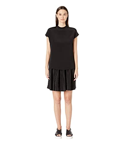 Adam Lippes Silk Crepe Double Layer Mock Neck Mini Dress (Black) Women
