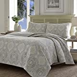 Tommy Bahama Home Turtle Cove Collection Quilt Set-100% Cotton, Reversible Bedding with Matching Sham, Pre-Washed for Added Softness, King, Grey