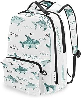 Mochila con bolsa cruzada desmontable, diseño de tiburón con dibujos animados