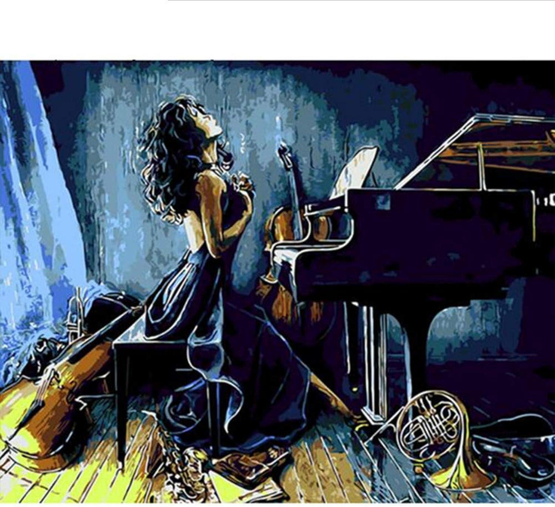 Waofe  Frame Piano Girl Diy Malen Nach Zahlen Zahlen Zahlen Moderne Wandmalerei Einzigartiges Geschenk Nach Hause Wandkunst Bild Kalligraphiemalerei B07PQ19HVT |  Neuer Markt  90bdb3