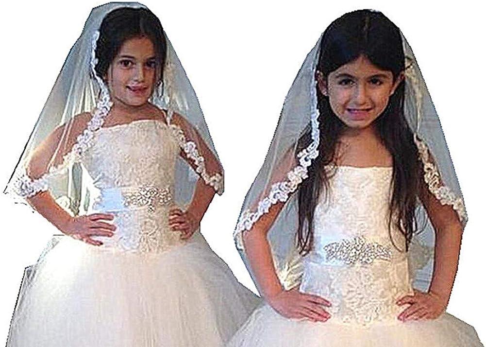 Shop Ginger Wedding Girls First Communion Veil 1 Tier White Rose Flower Lace