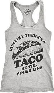 Womens Tank Run Like Theres A Taco at The Finish Line Tsleeveless Funny 5k Tanktop