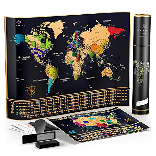 Scratch Off Map of the World - Large Deluxe Personalized Travel Map Poster with B0NUS Scratch off USA Map – Outlined US States, Landmarks, Roads, Rivers – ALL Accessories Included – Great GlFT