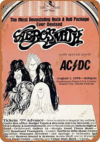 Froy 1978 Aerosmith and Ac/Dc In South Dakota Wand Blechschild Retro Eisen Poster Malerei Plaque Blech Vintage Personalisierte Kunst Kreativität Dekoration Handwerk Für Cafe Bar Garage Hause