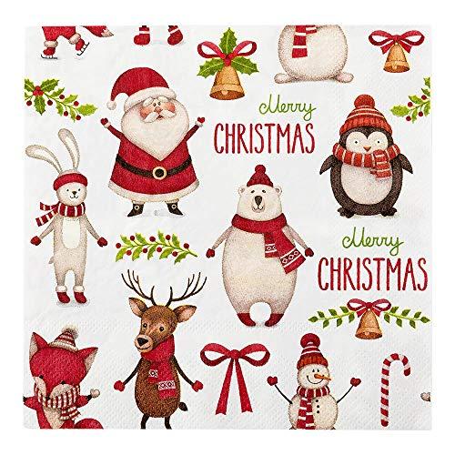 "White Paper Luncheon Napkin - Merry Christmas - 13"" x 13"" - 20 count box - Restaurantware"