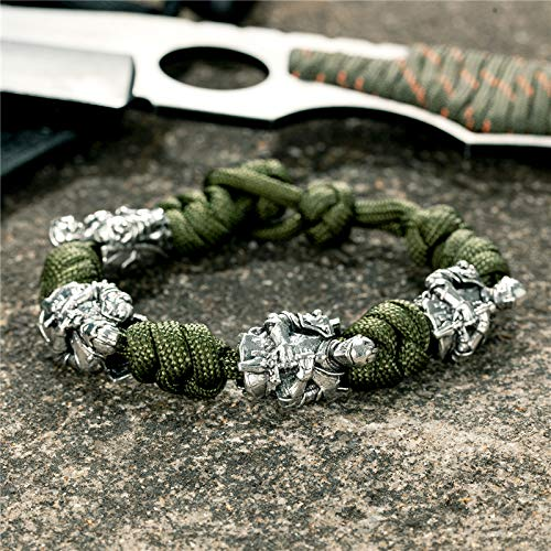 Pulseras de caballero nórdico retro para hombre, estilo marino, cordón tejido vikingo, cuerda de supervivencia, joyería creativa, regalo dropshipping (color metálico: verde militar)