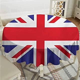 Lauren Russell Overlays Round Tablecloth Union Jack Classic Traditional Flag United Kingdom Modern British Loyalty Symbol Royal Blue Red White Outdoor Picnics Diameter 70