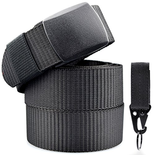Nylon Belt Man Military Tactical Police Black Unisex Belts Keychains Casual Strap Men Canvas Fabric Velcro Molle Mosqueton Closure Clip 130cm Long