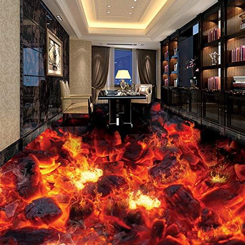 3D selbstklebende Bodenaufkleber moderne flamme tapete foto aufkleber wohnzimmer badezimmer schlafzimmer pvc wasserdicht rutschfeste, 350 * 245 cm