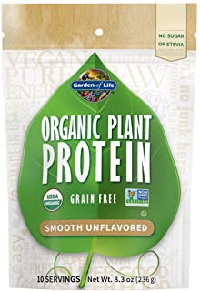 Garden of Life Organic Plant Protein Smooth Unflavored Powder, 10 Servings - Vegan, Grain Free & Gluten Free Plant Based P...