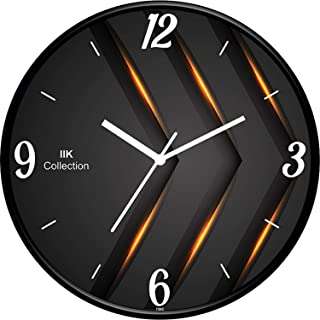 IIK COLLECTION Analogue Round Plastic Wall Clock with Glass for Home/Kitchen/Bedroom/Office, (Multicolour, 28 x 28 x 6 cm)