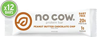 No Cow Protein bar, Peanut Butter Chocolate Chip, 20g Plant Based Protein, Keto Friendly, Low Sugar, Dairy Free, Gluten Free, Vegan, High Fiber, Non-GMO, 12Count