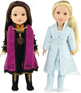 Emily Rose 14 Inch Doll Clothes for American Girl Wellie Wisher | Princess Elsa and Anna Frozen 2 Inspired 11 PC Doll Outf...