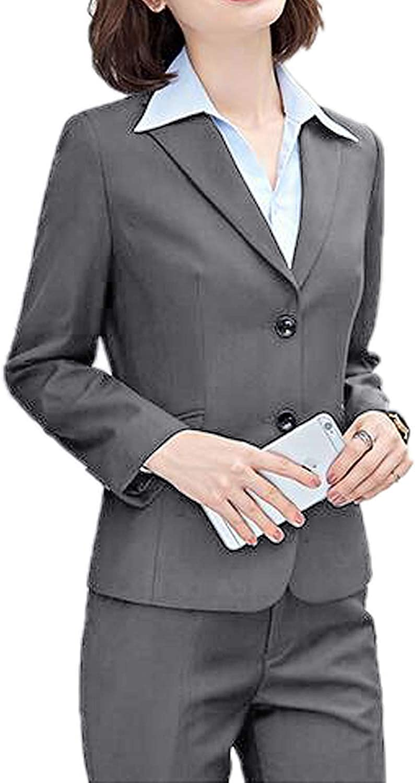 WZW Women's 2 Piece Slim Fit Suits Set for Business Office Lady Blazer Jacket Pants