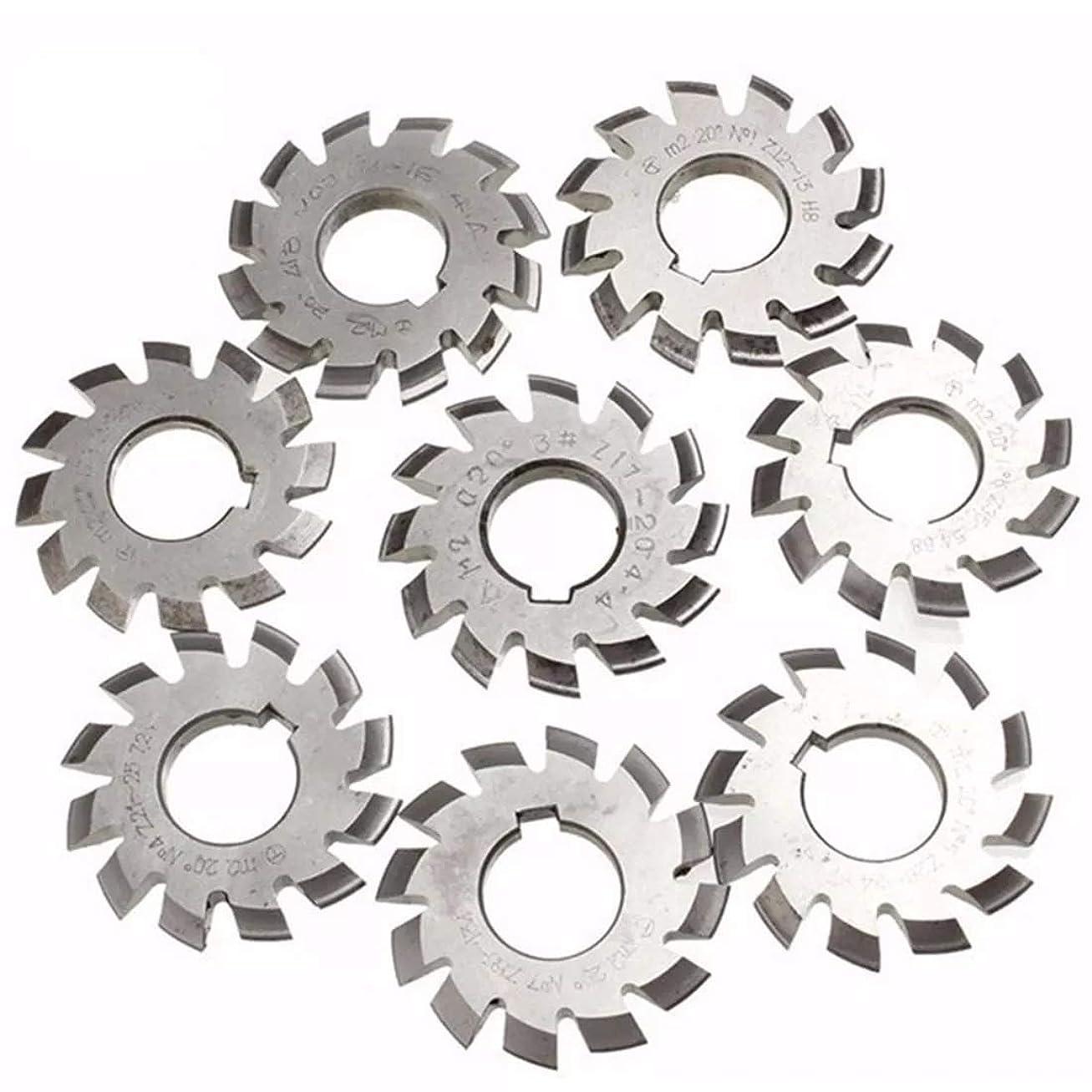 前部シネウィリングZWH-ZWH 鋸刃、8本の直径22ミリメートルモジュール2 20degree#1-8 M2 HSSインボリュート歯車フライスカッターの切削工具 鋸刃切削工具