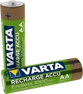 VARTA Recharge Akku Endless, wiederaufladbar   bis zu 3500 Aufladungen, geringe Selbstentladung, Ready To Use vorgeladener AA Micro Ni MH Akku (2er Pack, 1000mAh)   wiederaufladbar ohne Memory Effekt