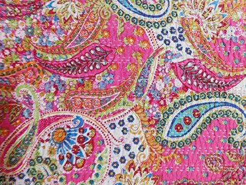Yuvancrafts Kantha - Colcha de algodón con estampado de cachemir, color rosa