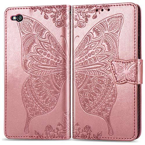 Hülle für Xiaomi Redmi Go Hülle Handyhülle [Standfunktion] [Kartenfach] Tasche Flip Case Cover Etui Schutzhülle lederhülle klapphülle für Xiaomi Redmi Go - DESD021446 Rosa Gold