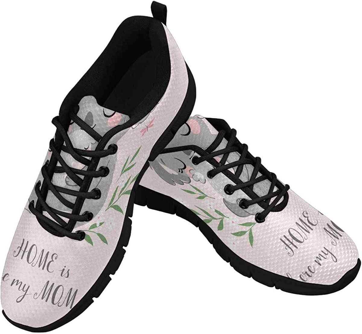 INTERESTPRINT Cute Koala Mother and Baby Lightweight Mesh Breathable Sneakers for Women