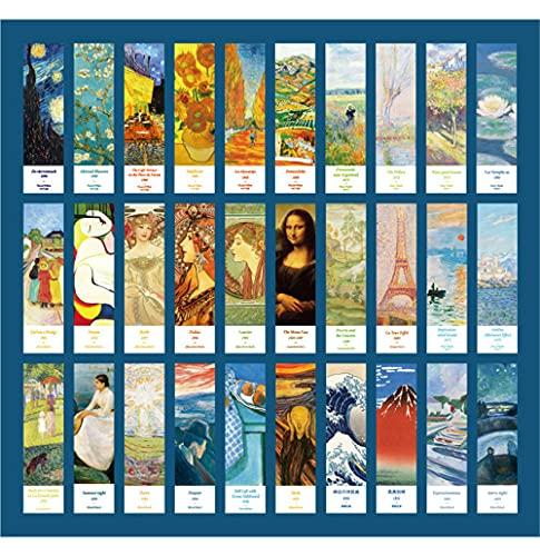 GIVBRO Segnalibri di carta per pagina di arte galleria d'arte vintage clip per libro per lettori di donne, studenti, scuola, ufficio, 30 pezzi