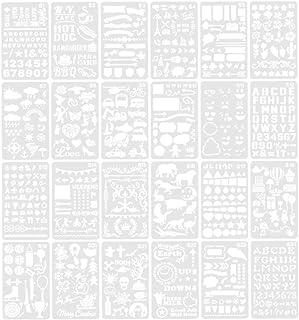 Vosarea 24 piezas de plantillas de números de letras de bricolaje plantillas de dibujo de pintura plantillas de aprendizaje para niños plantillas de plantillas huecas para bloc de notas