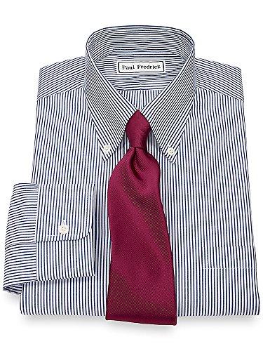 Paul Fredrick Men's Pinpoint Button Down Collar Button Cuff Dress Shirt Blue Stripe 15.5/33