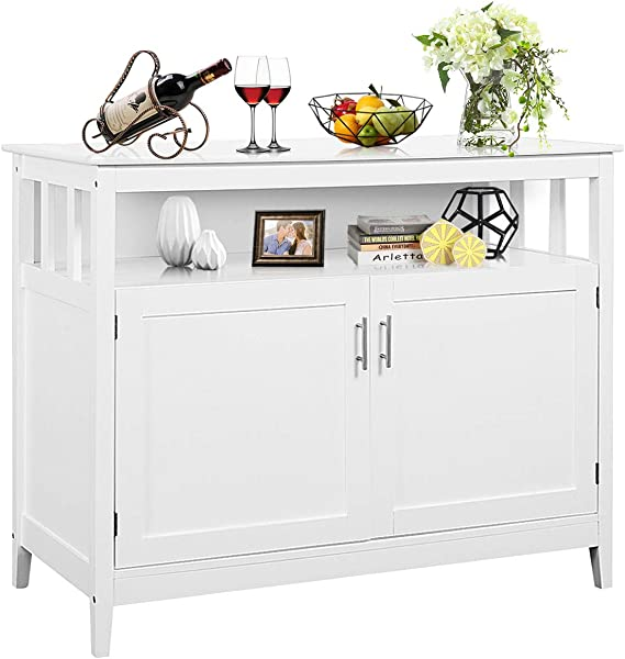 Costzon Kitchen Storage Sideboard Dining Buffet Server Cabinet Cupboard Free Standing Storage Chest With 2 Level Cabinets And Open Shelf Adjustable Middle Shelf For Home Dining Room Modern White