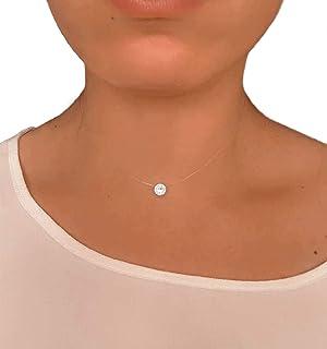 Collier Solitaire invisible - Cristal SWAROVSKI - Fil de Nylon/Pêche transparent - Ras de cou de la clavicule - Pendentif ...