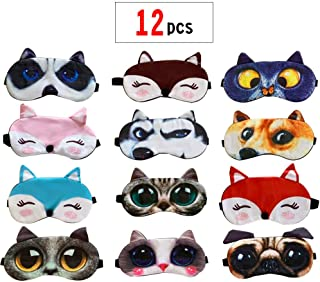 PINCHUANG 12Packs Animal Sleep Mask - Soft Funny Blindfolds Sleeping Mask, Cute Cat Dog Eye Cover for Kids Girls Men Women PlaneTravel Nap Night Sleeping