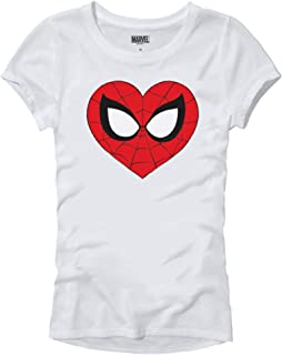 Marvel Spider-Man Face Mask Heart Logo Symbol Womens Juniors T-Shirt