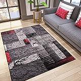 VIMODA Designer Teppich Wohnzimmer Inneneinrichtung Modern Rot, Maße:160x230 cm