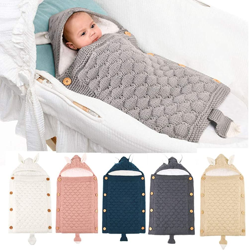 Toyvian Stroller Wrap Blanket Sleeping Bag with Stroller Handle Cover Stroller Knitting Sleeping Bag for Newborn Baby Infant White