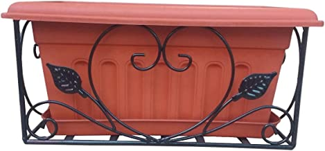Railing rectangular planter metal with suitable pot and bottom tray - Minerva Naturals