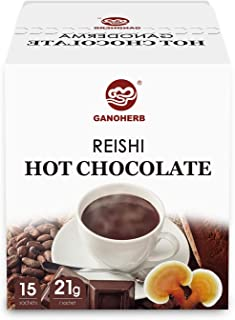 GANOHERB Reishi Mushroom Hot Chocolate ,Real Cocoa Mixed with Organic Ganoderma Lucidum Extract,Mellow chocolate flavor,Gluten-Free,0.74 Ounce (15 Count)