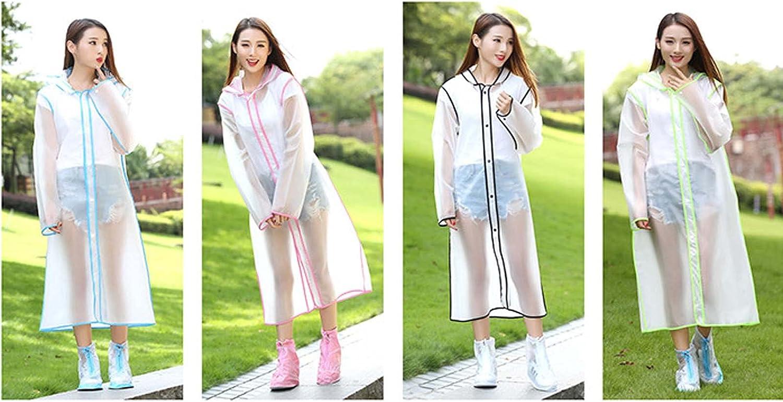 FHGH 4PCS Edging Hooded Raincoats, Reusable EVA Long Rain Poncho, Transparent Brim and Cuff Snaps Design,Multi Colored,Medium