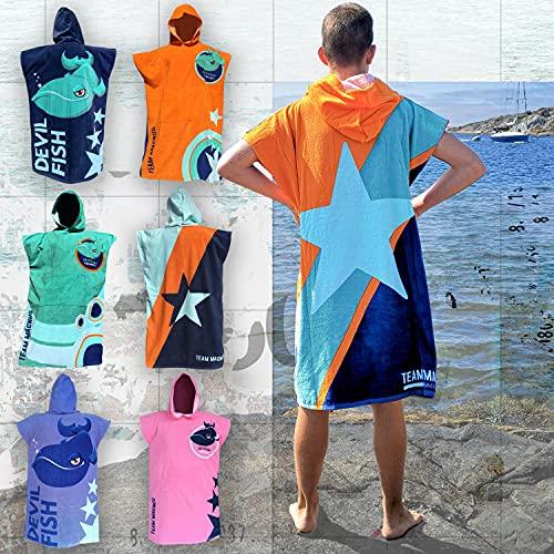 TEAM MAGNUS Accappatoio Asciugamano per Bambini - Telo Bagno per Ragazzi e Ragazze 120-170cm - Devilfish Design (Orange)