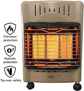 Estufa de Gas de Butano(Gas LP), Calefactor de Cerámica para el Casa o la Oficina con protección contra vuelcos, 3 configuraciones de calefacción, Ruedas Portátil