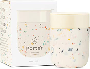 On-the-Go W/&P Porter Ceramic Mug w// Protective Silicone Sleeve Terrazzo Cream 12 Ounces Reusable Cup for Coffee or Tea Portable Dishwasher Safe