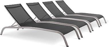 Modway EEI-4007-BLK Savannah Chaise Lounge Set, Black