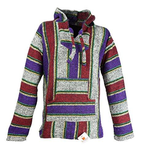 Funny Guy Mugs Premium Baja Hoodie Sweatshirt Pullover Jerga Poncho (Camp Fire, X-Large)