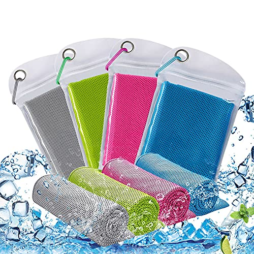 4 Stück Kühlendes Handtuch,Cooling Towel 95.5*28 cm,Mikrofaser Handtuch,Sporthandtuch Ultraleicht Kühltuch, kühlendes Handtuch für Wandern,Microfaser Handtücher für Sauna,mikrofaser handtuch kühlend